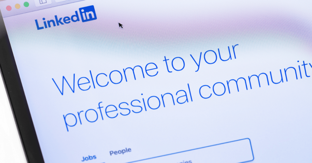 A screenshot of the LinkedIn homepage showing their purpose: finding a professional community.